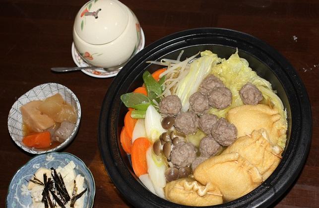 タジン鍋ちゃんこと、茶わん蒸し、山芋の千切り、煮物の写真