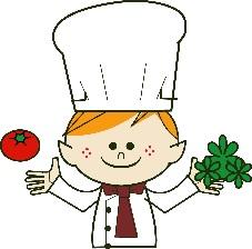 レストランのシェフが野菜を持ってるイラスト