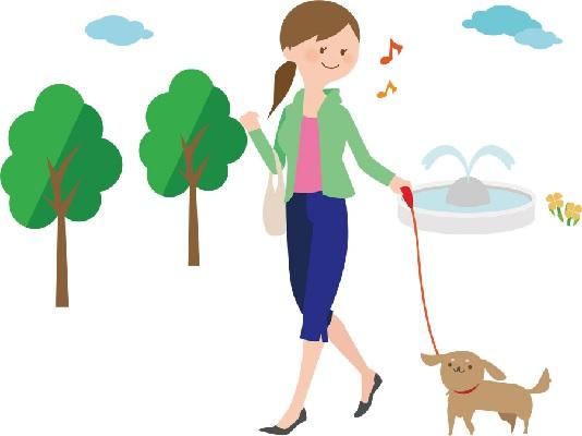 公園をお散歩してる女性のイラスト