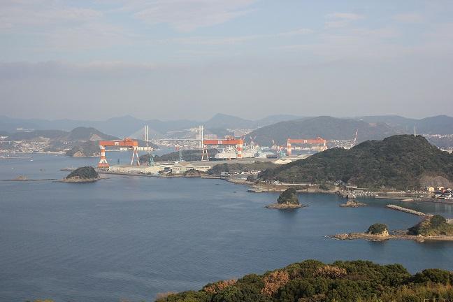 展望台からの風景、造船工場の写真