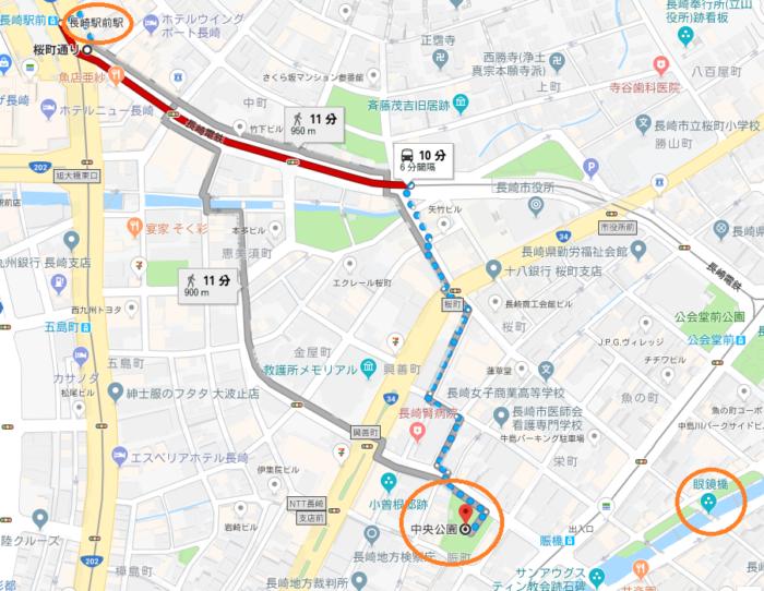 長崎駅からみなと公園までの地図案内の写真