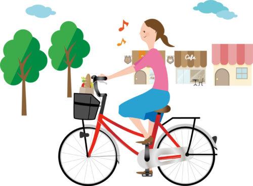 自転車でお出かけのイラスト