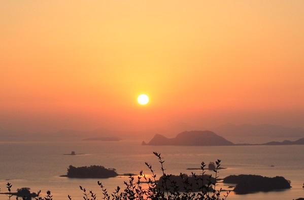 展海峰 夕日の写真