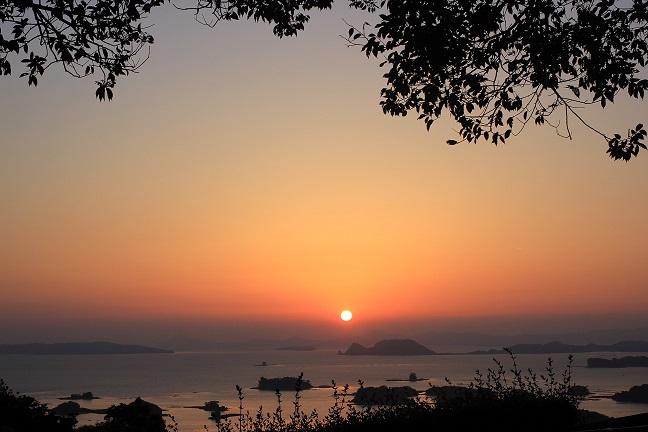 絵画みたいな展海峰の夕日の写真