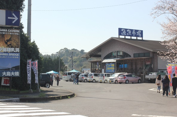 魚魚市場と駐車場の写真