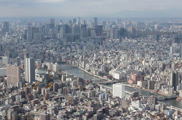 スカイツリーからの東京の街並みの写真