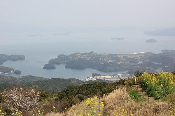大村湾を一望、島々の写真