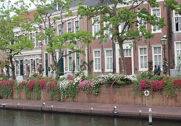 運河のバラと建物の写真