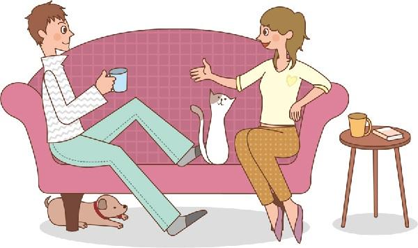 ソファーに座ってるカップルのイラスト