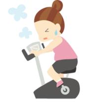 自転車のマシンに乗ってる女性のイラスト