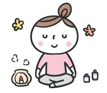 ヨガの瞑想している女性のイラスト