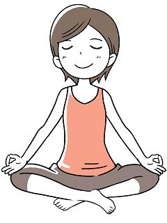 ヨガポーズ、瞑想をしている女性のイラスト