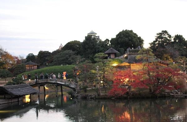 後楽園、ライトアップした庭園の写真