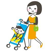 ベビーカーに乗ってる子供とお母さんのイラスト