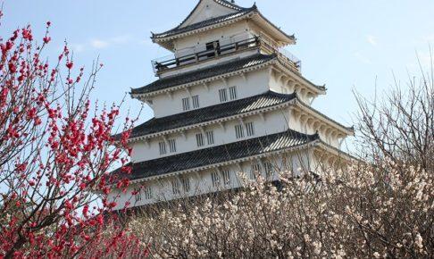島原城と紅白の梅の写真