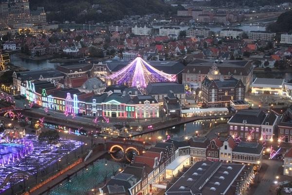 ドムトールンからの景色、冬のアトラクションを広場の写真
