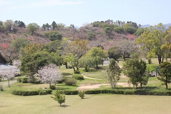 宮崎県立西都原考古博物館の3階の展望所からの風景写真(庭園と高取山)