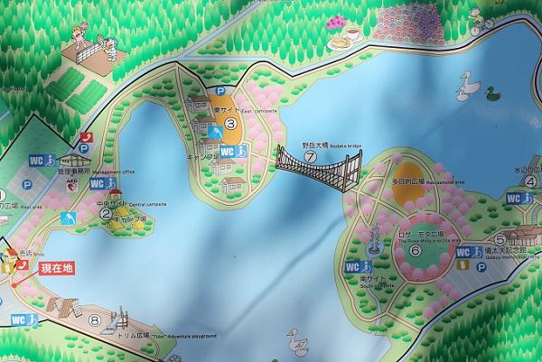 野岳湖公園の案内地図の看板写真