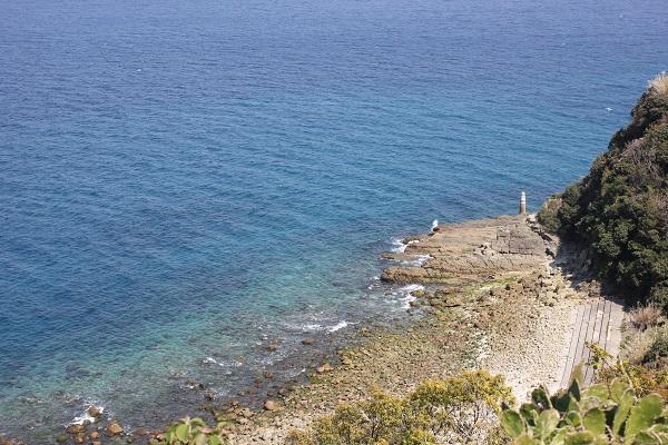 伊王島灯台から見下ろす美しい海、海岸の写真