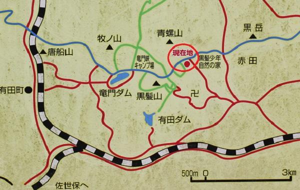 乳待坊公園へのアクセス地図の看板写真