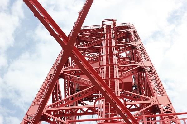 筑後川昇開橋の鉄塔のアップ写真