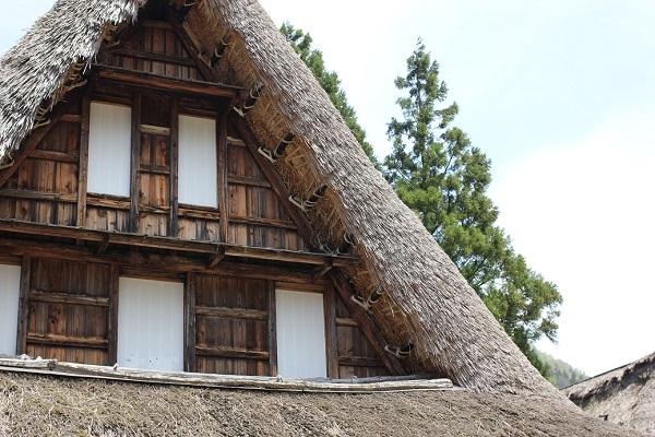 菅沼合掌造り、家の上の部分の写真
