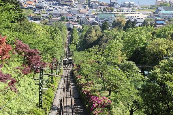 傘山公園へ向かうケーブルカーと風景写真
