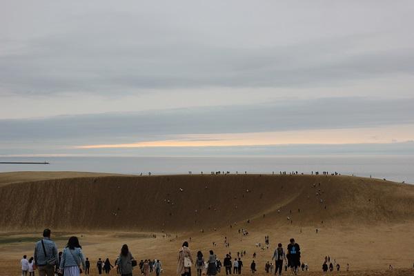 鳥取砂丘に入った写真、多くの人が歩いている写真(馬の背と夕焼けがかかった空)