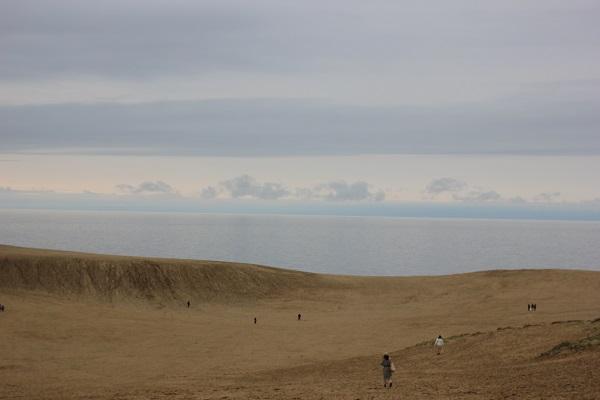鳥取砂丘のなだらかな丘、海と空の写真