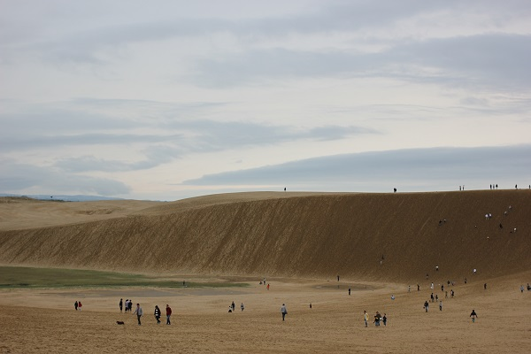 鳥取砂丘、馬の背と人、空の写真