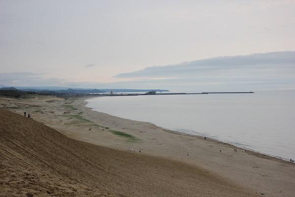 鳥取砂丘の馬の背から見た海岸と日本海の様子の写真