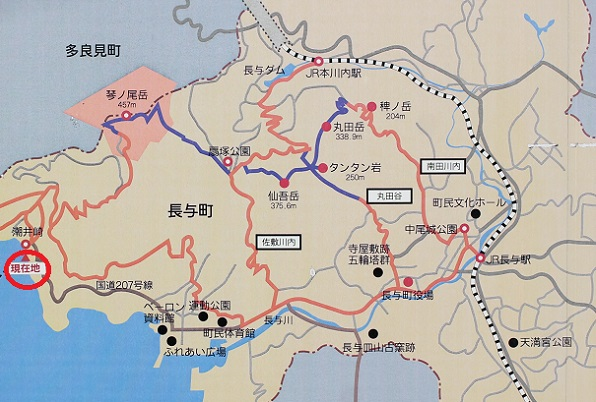 潮井崎公園にある地図看板の写真