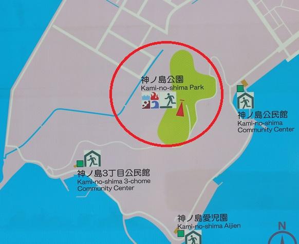 神の島公園の案内地図の写真