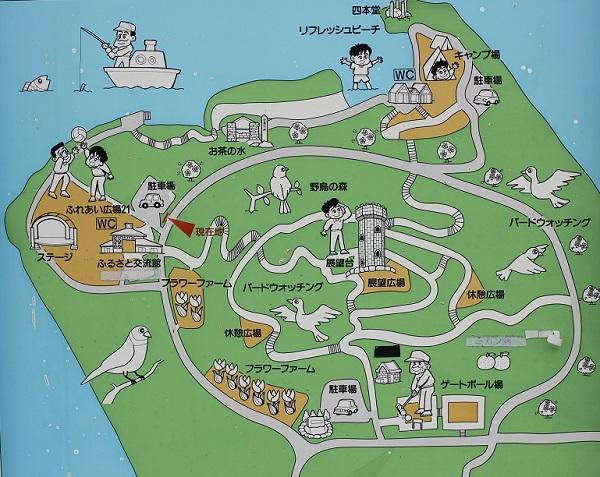 四本堂公園の園内マップの写真