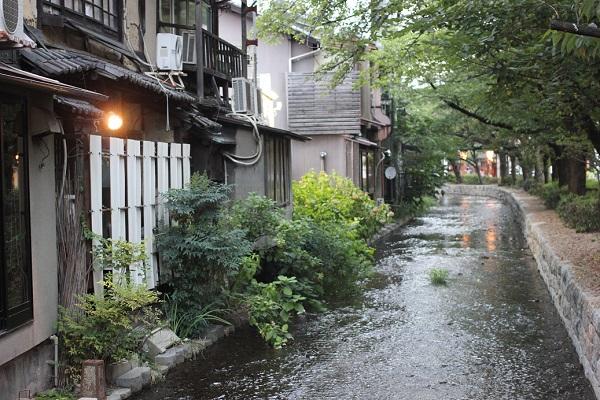 鴨川の裏手にある道、小さい川とお店が連なる様子の写真