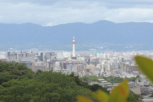 清水寺から見た夏の京都の街の様子(背景には山、そして京都タワー)