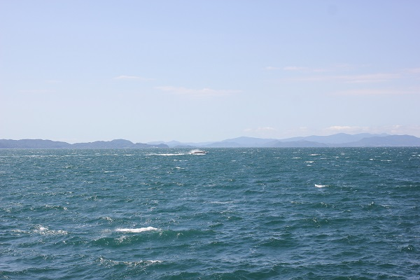 堂崎鼻から見た大村湾や島、船の様子の写真
