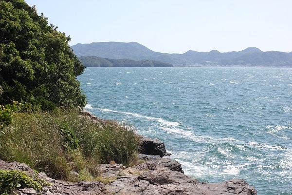 堂崎鼻の岩場の様子の写真