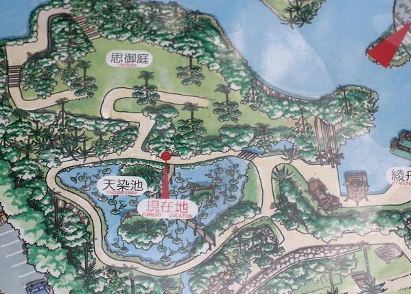 ビオスの丘の天染池の地図の看板の写真