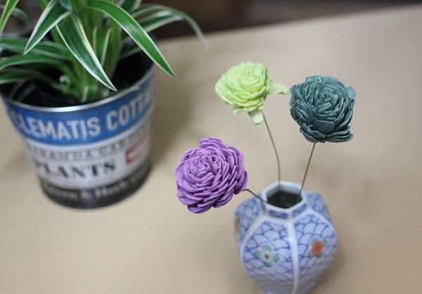 花瓶に生けてるソーラーローズと植物の鉢の写真