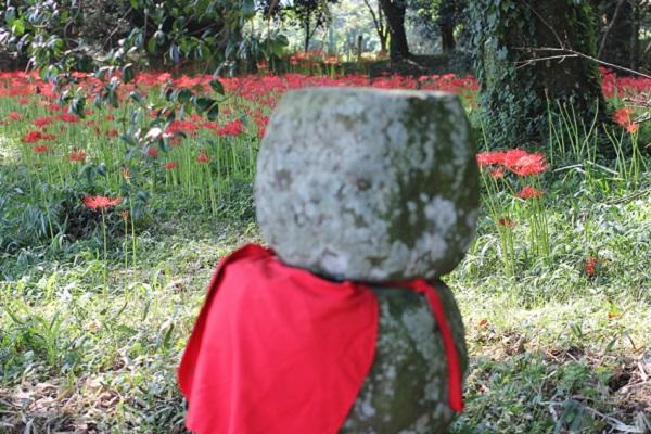 七つ森古墳群の石の地蔵と彼岸花の写真