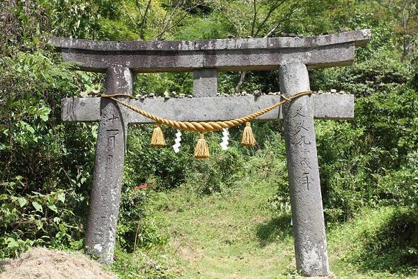 トトロの森の近くにある龍王社の鳥居の写真