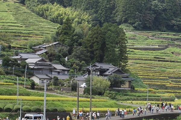 鬼木の棚田と棚田の案山子を見学する多くの人達の写真