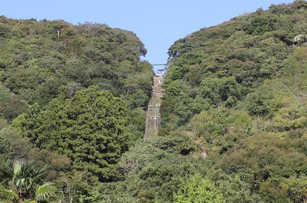 羅漢寺本堂へ上るリフトの写真