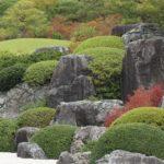 足立美術館、秋の枯山水庭園の写真