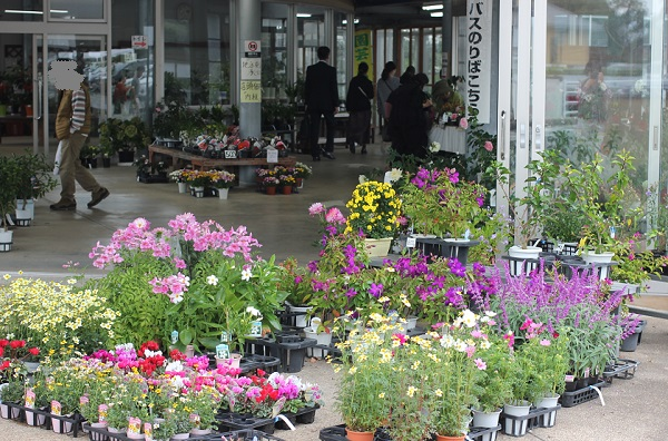 由志園、花を売っている売店の写真