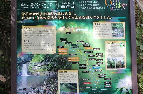 轟狭、轟渓流の案内地図の看板写真