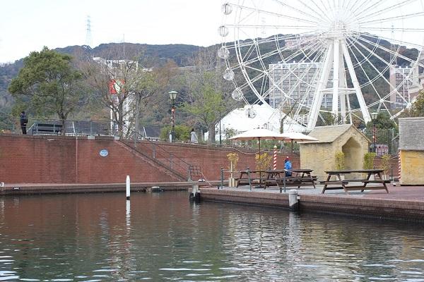 ハウステンボスの「ゴンドラ遊覧」からの景色、ゴンドラの乗船口の写真