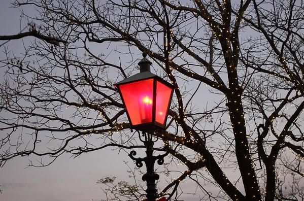 ハウスンボス、夕暮れにライトが付いた赤い電灯の写真
