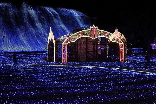 ハウスンボス、アートガーデンのイルミネーション(光の滝)の写真